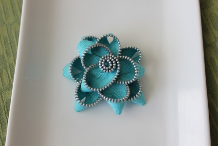 Teal Zipper Flower